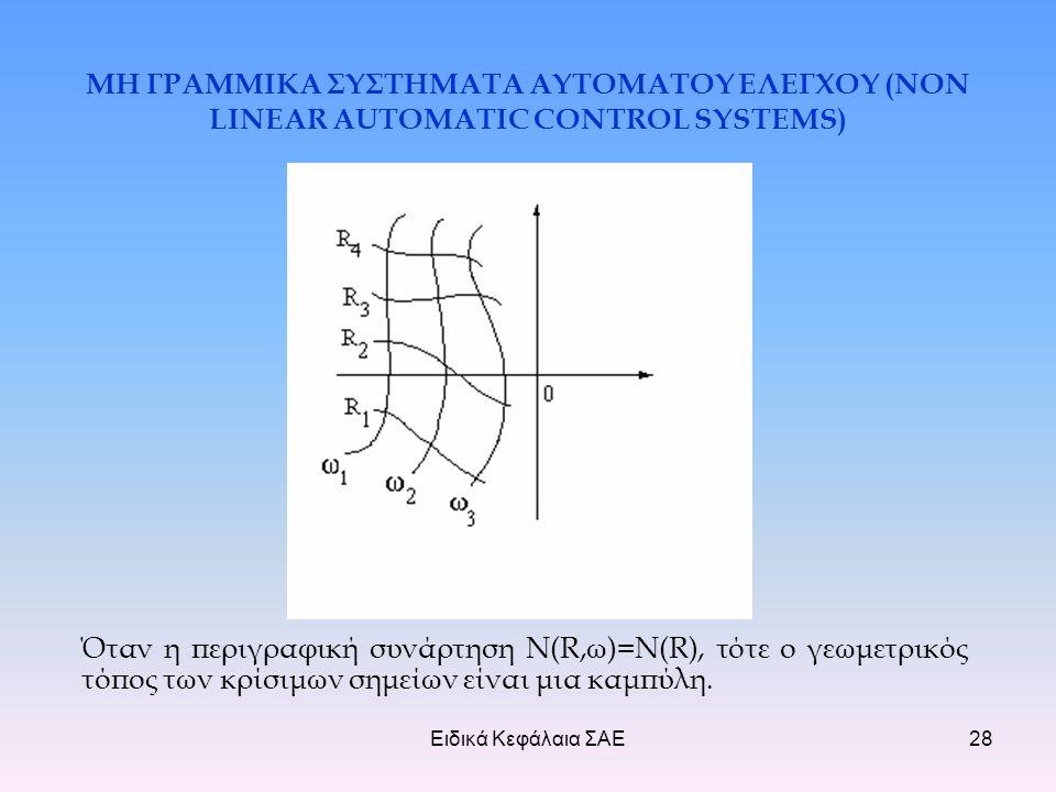 Ειδικά Κεφάλαια ΣΑΕ28 ΜΗ ΓΡΑΜΜΙΚΑ ΣΥΣΤΗΜΑΤΑ ΑΥΤΟΜΑΤΟΥ ΕΛΕΓΧΟΥ (NON LINEAR AUTOMATIC CONTROL SYSTEMS) Όταν η περιγραφική συνάρτηση N(R,ω)=N(R), τότε ο γεωμετρικός τόπος των κρίσιμων σημείων είναι μια καμπύλη.