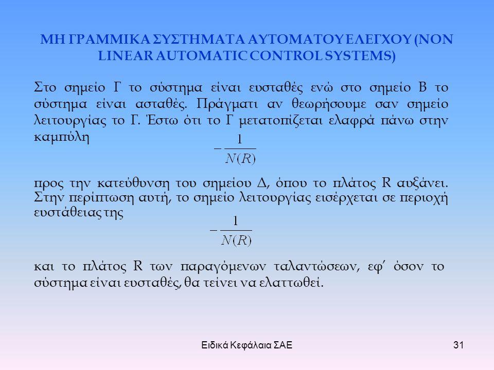Ειδικά Κεφάλαια ΣΑΕ31 ΜΗ ΓΡΑΜΜΙΚΑ ΣΥΣΤΗΜΑΤΑ ΑΥΤΟΜΑΤΟΥ ΕΛΕΓΧΟΥ (NON LINEAR AUTOMATIC CONTROL SYSTEMS) Στο σημείο Γ το σύστημα είναι ευσταθές ενώ στο σημείο Β το σύστημα είναι ασταθές.