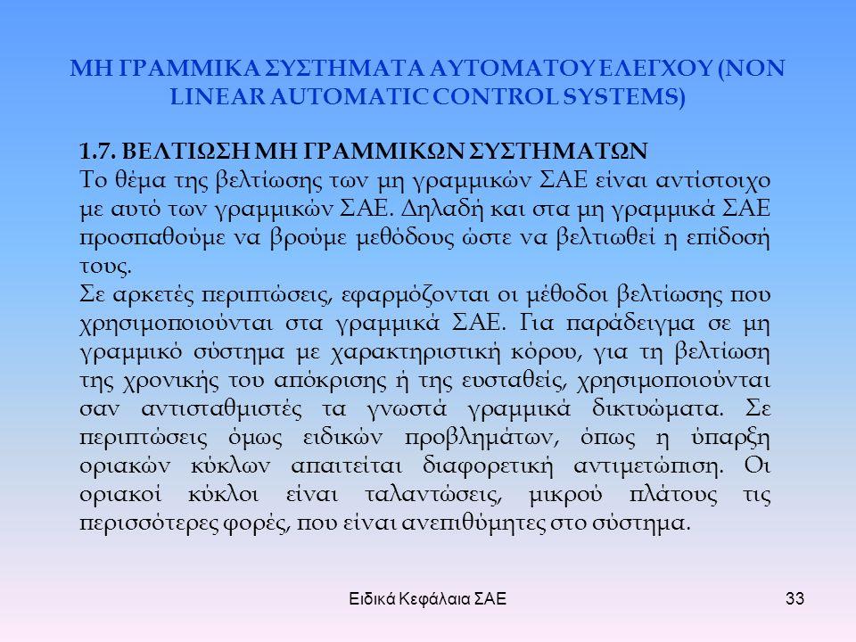 Ειδικά Κεφάλαια ΣΑΕ33 ΜΗ ΓΡΑΜΜΙΚΑ ΣΥΣΤΗΜΑΤΑ ΑΥΤΟΜΑΤΟΥ ΕΛΕΓΧΟΥ (NON LINEAR AUTOMATIC CONTROL SYSTEMS) 1.7.