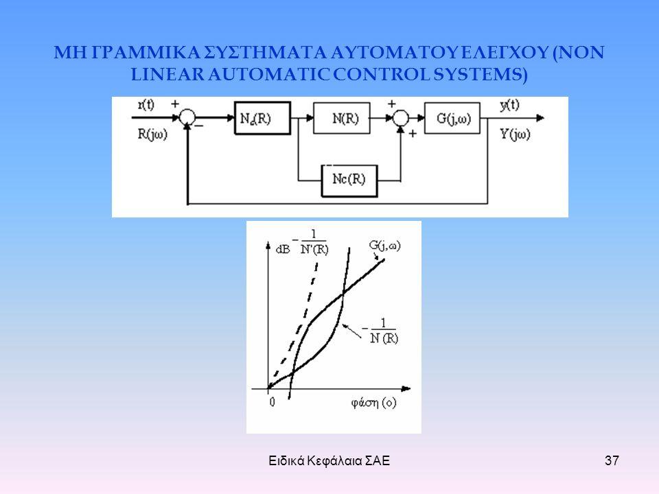 Ειδικά Κεφάλαια ΣΑΕ37 ΜΗ ΓΡΑΜΜΙΚΑ ΣΥΣΤΗΜΑΤΑ ΑΥΤΟΜΑΤΟΥ ΕΛΕΓΧΟΥ (NON LINEAR AUTOMATIC CONTROL SYSTEMS)