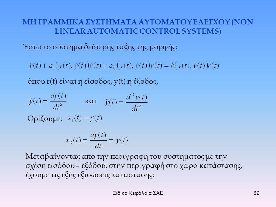 Ειδικά Κεφάλαια ΣΑΕ39 ΜΗ ΓΡΑΜΜΙΚΑ ΣΥΣΤΗΜΑΤΑ ΑΥΤΟΜΑΤΟΥ ΕΛΕΓΧΟΥ (NON LINEAR AUTOMATIC CONTROL SYSTEMS) Έστω το σύστημα δεύτερης τάξης της μορφής: όπου r(t) είναι η είσοδος, y(t) η έξοδος, και Ορίζουμε: Μεταβαίνοντας από την περιγραφή του συστήματος με την σχέση εισόδου – εξόδου, στην περιγραφή στο χώρο κατάστασης, έχουμε τις εξής εξισώσεις κατάστασης: