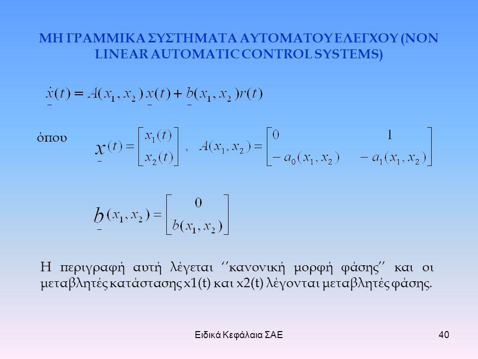 Ειδικά Κεφάλαια ΣΑΕ40 ΜΗ ΓΡΑΜΜΙΚΑ ΣΥΣΤΗΜΑΤΑ ΑΥΤΟΜΑΤΟΥ ΕΛΕΓΧΟΥ (NON LINEAR AUTOMATIC CONTROL SYSTEMS) όπου Η περιγραφή αυτή λέγεται ''κανονική μορφή φάσης'' και οι μεταβλητές κατάστασης x1(t) και x2(t) λέγονται μεταβλητές φάσης.