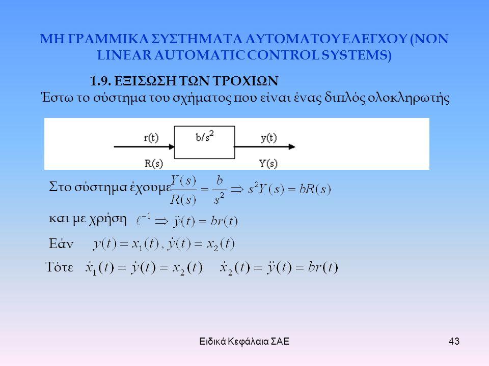 Ειδικά Κεφάλαια ΣΑΕ43 ΜΗ ΓΡΑΜΜΙΚΑ ΣΥΣΤΗΜΑΤΑ ΑΥΤΟΜΑΤΟΥ ΕΛΕΓΧΟΥ (NON LINEAR AUTOMATIC CONTROL SYSTEMS) 1.9.