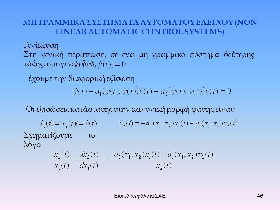 Ειδικά Κεφάλαια ΣΑΕ46 ΜΗ ΓΡΑΜΜΙΚΑ ΣΥΣΤΗΜΑΤΑ ΑΥΤΟΜΑΤΟΥ ΕΛΕΓΧΟΥ (NON LINEAR AUTOMATIC CONTROL SYSTEMS) Γενίκευση Στη γενική περίπτωση, σε ένα μη γραμμικό σύστημα δεύτερης τάξης, ομογενές, δηλ.