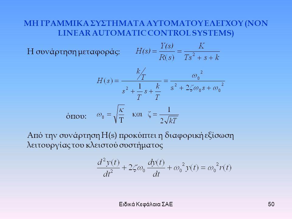 Ειδικά Κεφάλαια ΣΑΕ50 ΜΗ ΓΡΑΜΜΙΚΑ ΣΥΣΤΗΜΑΤΑ ΑΥΤΟΜΑΤΟΥ ΕΛΕΓΧΟΥ (NON LINEAR AUTOMATIC CONTROL SYSTEMS) Η συνάρτηση μεταφοράς: όπου: Από την συνάρτηση H(s) προκύπτει η διαφορική εξίσωση λειτουργίας του κλειστού συστήματος