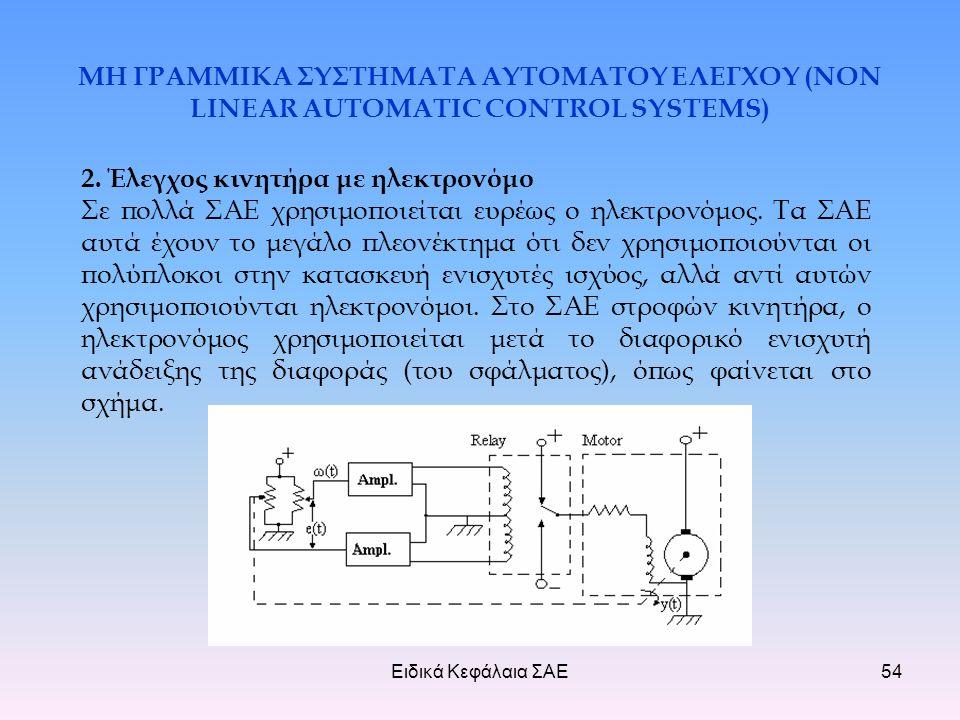 Ειδικά Κεφάλαια ΣΑΕ54 ΜΗ ΓΡΑΜΜΙΚΑ ΣΥΣΤΗΜΑΤΑ ΑΥΤΟΜΑΤΟΥ ΕΛΕΓΧΟΥ (NON LINEAR AUTOMATIC CONTROL SYSTEMS) 2.