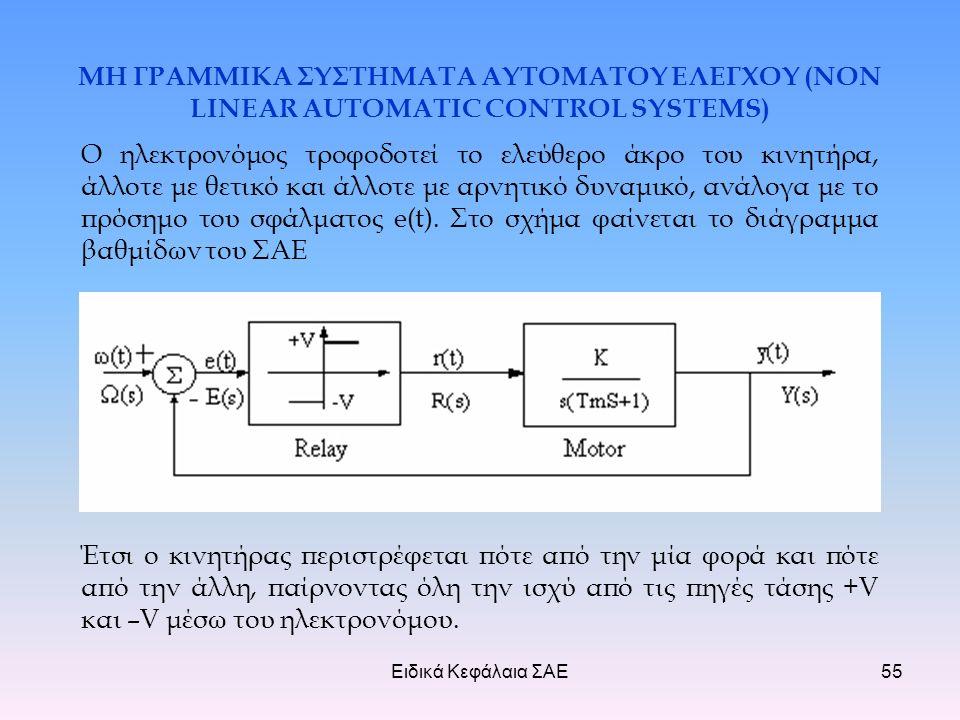 Ειδικά Κεφάλαια ΣΑΕ55 ΜΗ ΓΡΑΜΜΙΚΑ ΣΥΣΤΗΜΑΤΑ ΑΥΤΟΜΑΤΟΥ ΕΛΕΓΧΟΥ (NON LINEAR AUTOMATIC CONTROL SYSTEMS) Ο ηλεκτρονόμος τροφοδοτεί το ελεύθερο άκρο του κινητήρα, άλλοτε με θετικό και άλλοτε με αρνητικό δυναμικό, ανάλογα με το πρόσημο του σφάλματος e(t).