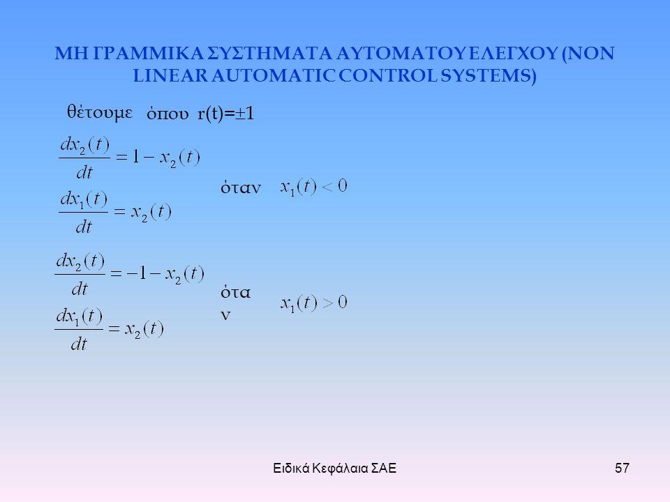 Ειδικά Κεφάλαια ΣΑΕ57 ΜΗ ΓΡΑΜΜΙΚΑ ΣΥΣΤΗΜΑΤΑ ΑΥΤΟΜΑΤΟΥ ΕΛΕΓΧΟΥ (NON LINEAR AUTOMATIC CONTROL SYSTEMS) όπου r(t)=  1 θέτουμε ότα ν