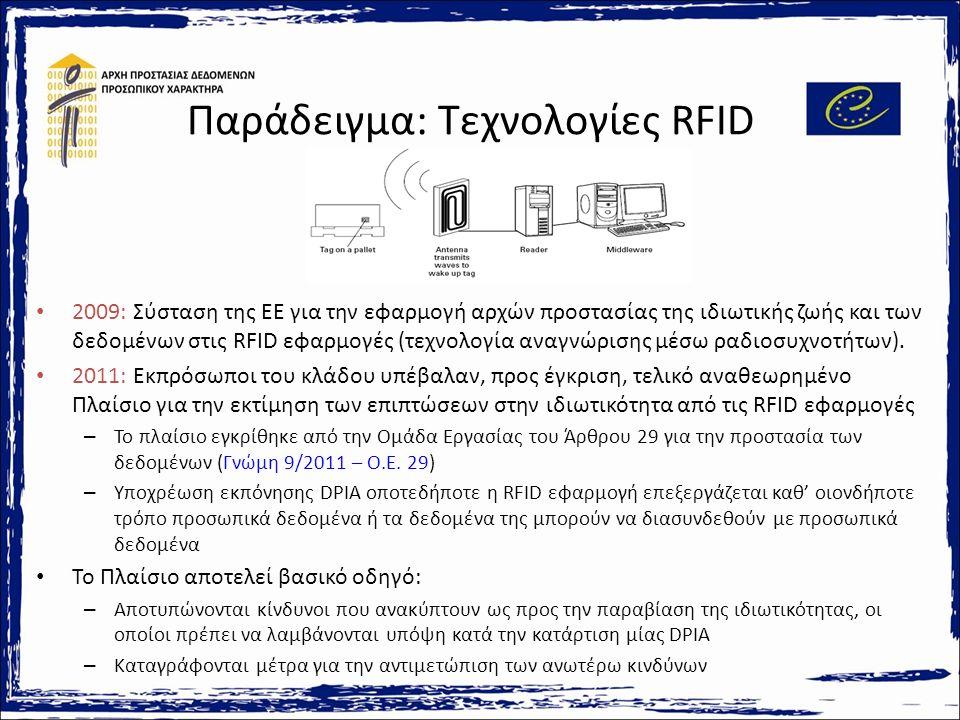 Παράδειγμα: Τεχνολογίες RFID 2009: Σύσταση της ΕΕ για την εφαρμογή αρχών προστασίας της ιδιωτικής ζωής και των δεδομένων στις RFID εφαρμογές (τεχνολογία αναγνώρισης μέσω ραδιοσυχνοτήτων).