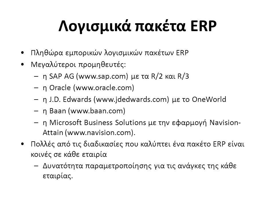 Πληθώρα εμπορικών λογισμικών πακέτων ERP Μεγαλύτεροι προμηθευτές: –η SAP AG (www.sap.com) με τα R/2 και R/3 –η Oracle (www.oracle.com) –η J.D. Edwards