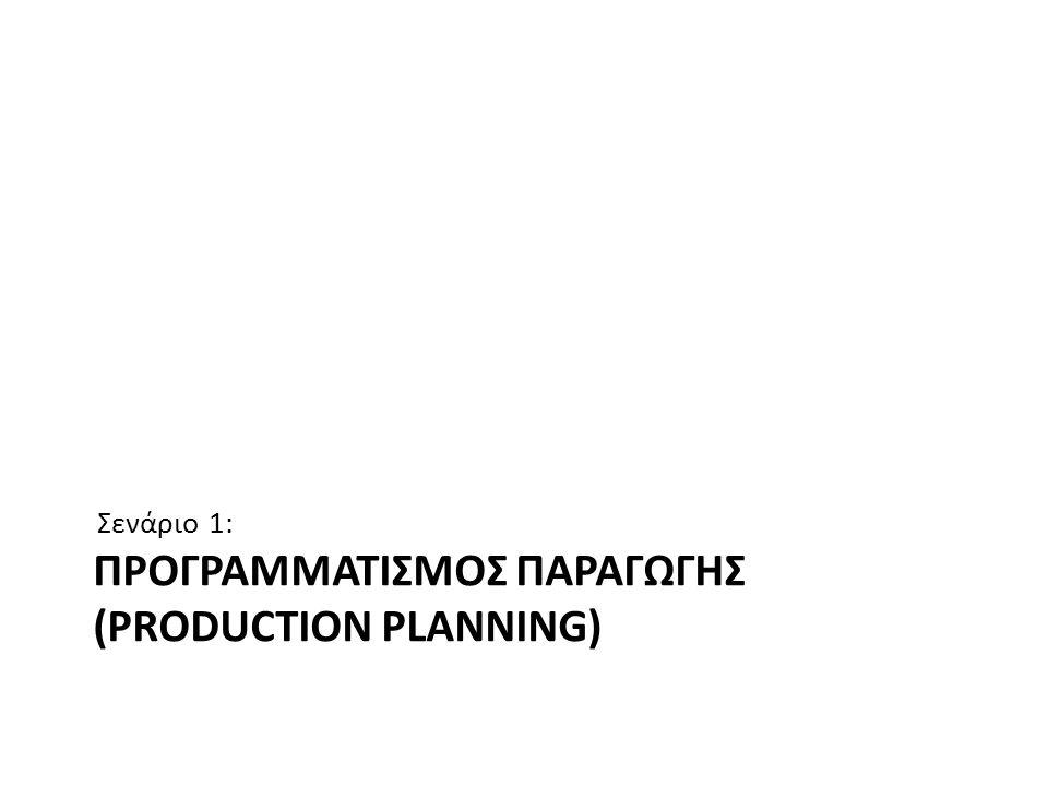 ΠΡΟΓΡΑΜΜΑΤΙΣΜΟΣ ΠΑΡΑΓΩΓΗΣ (PRODUCTION PLANNING) Σενάριο 1: