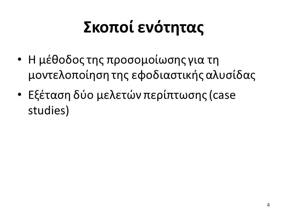 Σκοποί ενότητας Η μέθοδος της προσομοίωσης για τη μοντελοποίηση της εφοδιαστικής αλυσίδας Εξέταση δύο μελετών περίπτωσης (case studies) 4