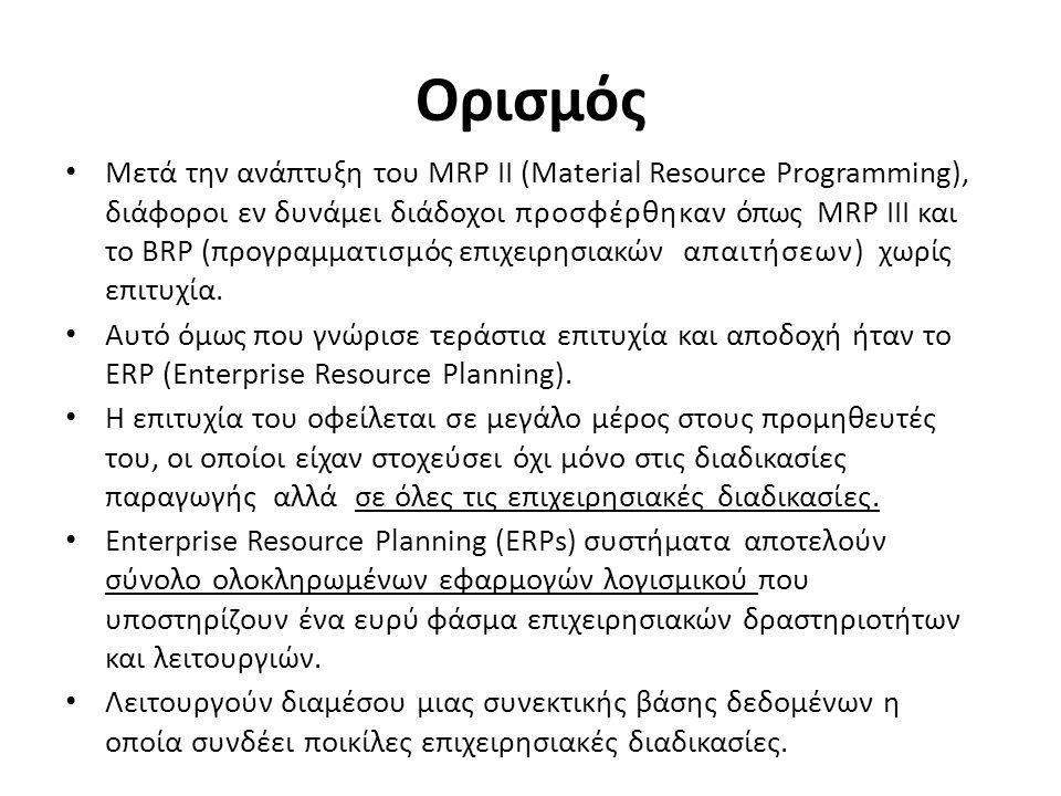 Επιχειρησιακές Διαδικασίες Επιτυγχάνουν τη συγκέντρωση των δεδομένων, την ενοποίηση και ολοκλήρωση όλων των εφαρμογών μίας επιχείρησης και τον επανασχεδιασμό των επιχειρησιακών διαδικασιών Σα ERPs αυτοματοποιούν Διαδικασίες & Λειτουργίες: – Οικονομικές – Κοστολογικές – Οργανωτικές – Αγορών και Πωλήσεων – Παραγωγής – Διανομής – Χρονικού – Ποσοτικού Προγραμματισμού – Διαχείρισης Ανθρώπινου Δυναμικού – Παγίων και Έργων