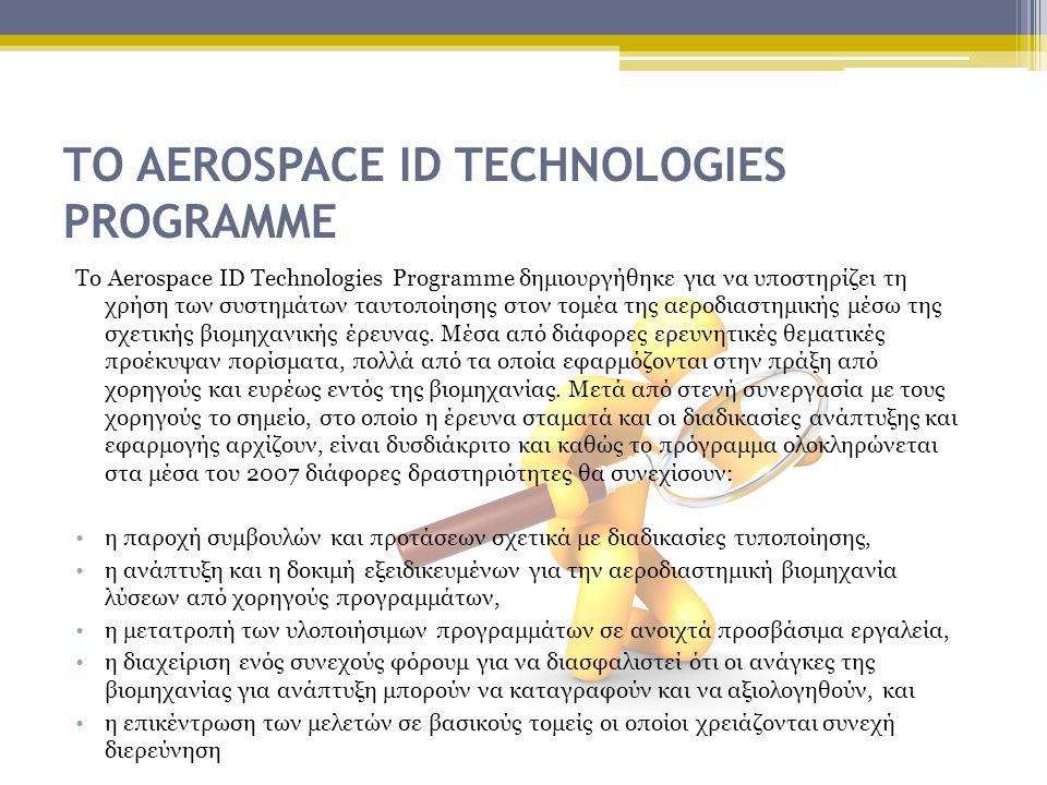 ΤΟ AEROSPACE ID TECHNOLOGIES PROGRAMME Το Aerospace ID Technologies Programme δημιουργήθηκε για να υποστηρίζει τη χρήση των συστημάτων ταυτοποίησης στον τομέα της αεροδιαστημικής μέσω της σχετικής βιομηχανικής έρευνας.