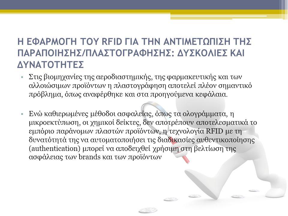 Η ΕΦΑΡΜΟΓΗ ΤΟΥ RFID ΓΙΑ ΤΗΝ ΑΝΤΙΜΕΤΩΠΙΣΗ ΤΗΣ ΠΑΡΑΠΟΙΗΣΗΣ/ΠΛΑΣΤΟΓΡΑΦΗΣΗΣ: ΔΥΣΚΟΛΙΕΣ ΚΑΙ ΔΥΝΑΤΟΤΗΤΕΣ Στις βιομηχανίες της αεροδιαστημικής, της φαρμακευτικής και των αλλοιώσιμων προϊόντων η πλαστογράφηση αποτελεί πλέον σημαντικό πρόβλημα, όπως αναφέρθηκε και στα προηγούμενα κεφάλαια.