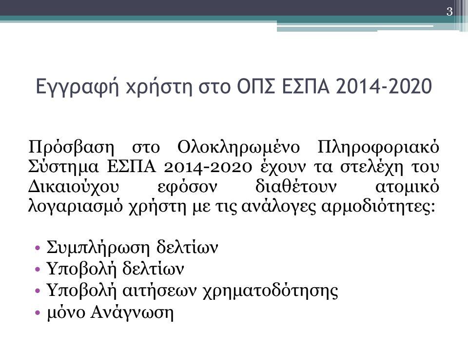 Εγγραφή χρήστη στο ΟΠΣ ΕΣΠΑ 2014-2020 Πρόσβαση στο Ολοκληρωμένο Πληροφοριακό Σύστημα ΕΣΠΑ 2014-2020 έχουν τα στελέχη του Δικαιούχου εφόσον διαθέτουν ατομικό λογαριασμό χρήστη με τις ανάλογες αρμοδιότητες: Συμπλήρωση δελτίων Υποβολή δελτίων Υποβολή αιτήσεων χρηματοδότησης μόνο Ανάγνωση 3