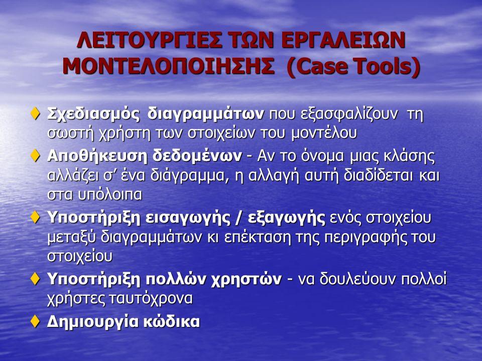 ΛΕΙΤΟΥΡΓΙΕΣ ΤΩΝ ΕΡΓΑΛΕΙΩΝ ΜΟΝΤΕΛΟΠΟΙΗΣΗΣ (Case Tools) tΣχεδιασμός διαγραμμάτων που εξασφαλίζουν τη σωστή χρήστη των στοιχείων του μοντέλου tΑποθήκευση