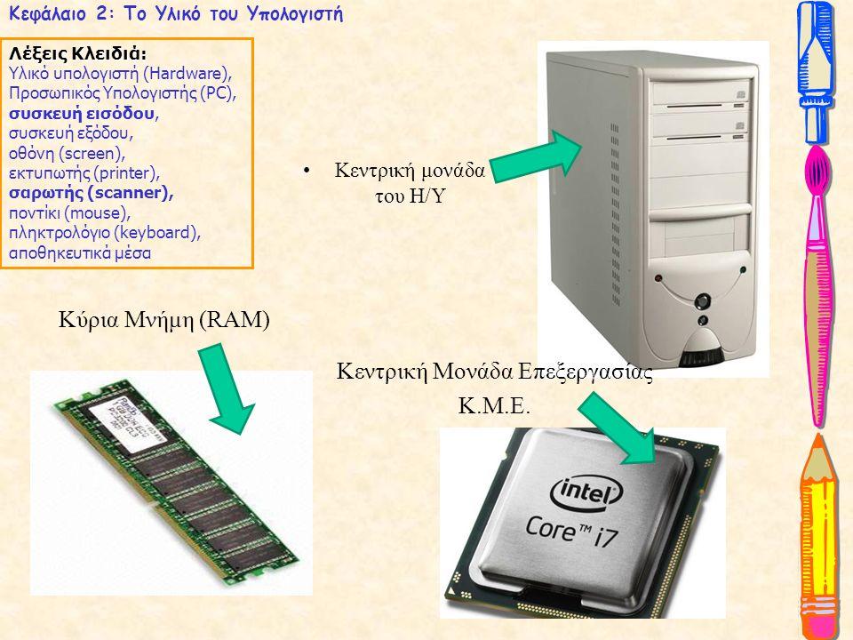 Κεφάλαιο 2: Το Υλικό του Υπολογιστή Λέξεις Κλειδιά: Υλικό υπολογιστή (Hardware), Προσωπικός Υπολογιστής (PC), συσκευή εισόδου, συσκευή εξόδου, οθόνη (screen), εκτυπωτής (printer), σαρωτής (scanner), ποντίκι (mouse), πληκτρολόγιο (keyboard), αποθηκευτικά μέσα Κύρια Μνήμη (RAM) Κεντρική μονάδα του Η/Υ Kεντρική Μονάδα Επεξεργασίας Κ.Μ.Ε.