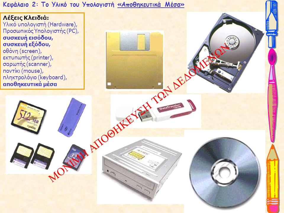 Λέξεις Κλειδιά: Υλικό υπολογιστή (Hardware), Προσωπικός Υπολογιστής (PC), συσκευή εισόδου, συσκευή εξόδου, οθόνη (screen), εκτυπωτής (printer), σαρωτής (scanner), ποντίκι (mouse), πληκτρολόγιο (keyboard), αποθηκευτικά μέσα Κεφάλαιο 2: Το Υλικό του Υπολογιστή «Είδη Υπολογιστών»