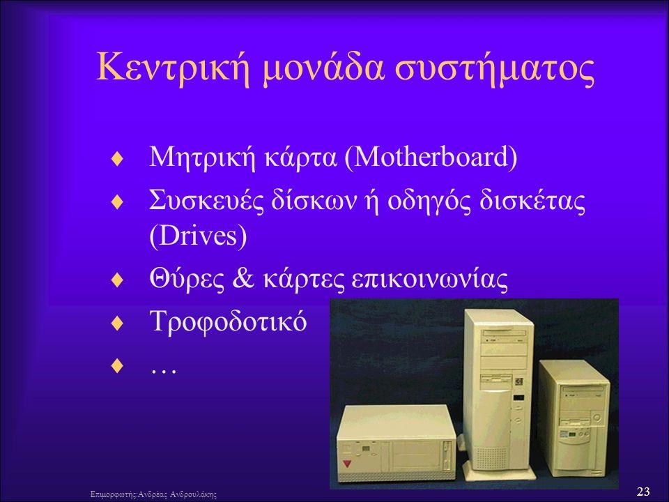23 Επιμορφωτής:Ανδρέας Ανδρουλάκης Κεντρική μονάδα συστήματος  Μητρική κάρτα (Motherboard)  Συσκευές δίσκων ή οδηγός δισκέτας (Drives)  Θύρες & κάρτες επικοινωνίας  Τροφοδοτικό  …