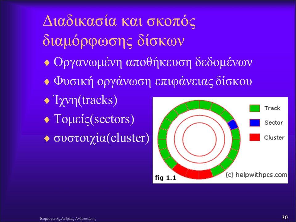 30 Επιμορφωτής:Ανδρέας Ανδρουλάκης Διαδικασία και σκοπός διαμόρφωσης δίσκων  Οργανωμένη αποθήκευση δεδομένων  Φυσική οργάνωση επιφάνειας δίσκου  Ίχνη(tracks)  Τομείς(sectors)  συστοιχία(cluster)