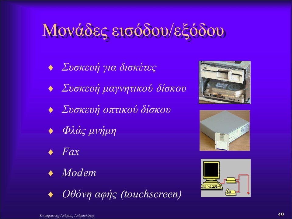 49 Επιμορφωτής:Ανδρέας Ανδρουλάκης Μονάδες εισόδου/εξόδου  Συσκευή για δισκέτες  Συσκευή μαγνητικού δίσκου  Συσκευή οπτικού δίσκου  Φλάς μνήμη  Fax  Modem  Οθόνη αφής (touchscreen)