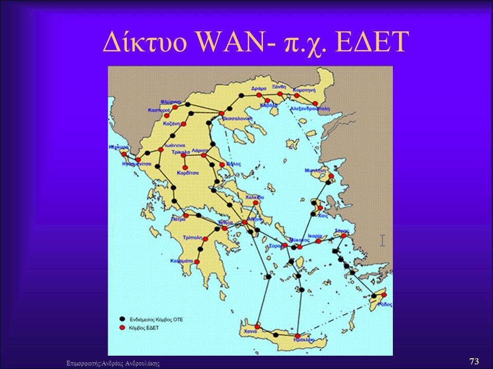 73 Δίκτυο WAN- π.χ. ΕΔΕΤ Επιμορφωτής:Ανδρέας Ανδρουλάκης