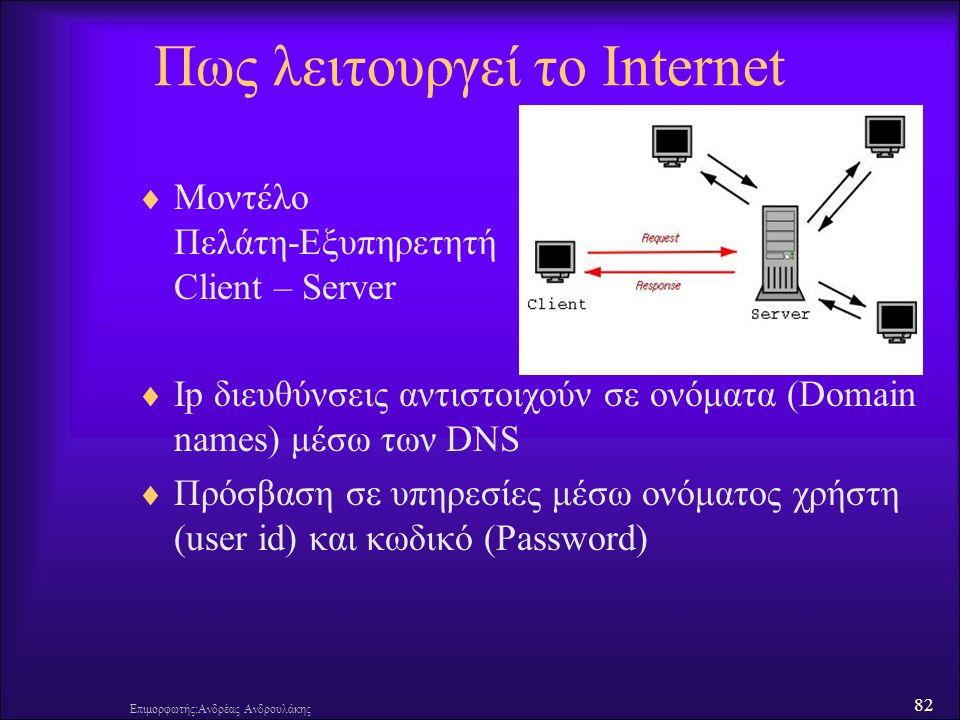 82 Πως λειτουργεί το Internet  Μοντέλο Πελάτη-Εξυπηρετητή Client – Server  Ip διευθύνσεις αντιστοιχούν σε ονόματα (Domain names) μέσω των DNS  Πρόσβαση σε υπηρεσίες μέσω ονόματος χρήστη (user id) και κωδικό (Password) Επιμορφωτής:Ανδρέας Ανδρουλάκης