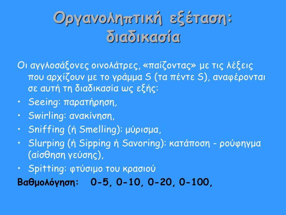 Οργανοληπτική εξέταση: διαδικασία Οι αγγλοσάξονες οινολάτρες, «παίζοντας» με τις λέξεις που αρχίζουν με το γράμμα S (τα πέντε S), αναφέρονται σε αυτή τη διαδικασία ως εξής: Seeing: παρατήρηση, Swirling: ανακίνηση, Sniffing (ή Smelling): μύρισμα, Slurping (ή Sipping ή Savoring): κατάποση - ρούφηγμα (αίσθηση γεύσης), Spitting: φτύσιμο του κρασιού Βαθμολόγηση: 0-5, 0-10, 0-20, 0-100,