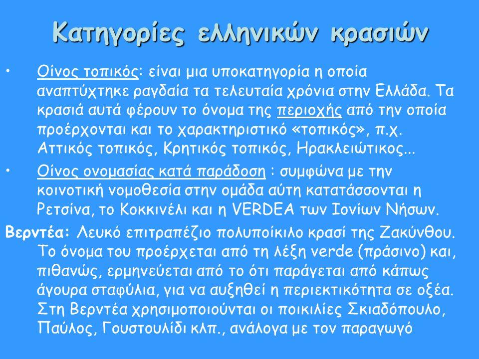 Κατηγορίες ελληνικών κρασιών Οίνος τοπικός: είναι μια υποκατηγορία η οποία αναπτύχτηκε ραγδαία τα τελευταία χρόνια στην Ελλάδα. Τα κρασιά αυτά φέρουν