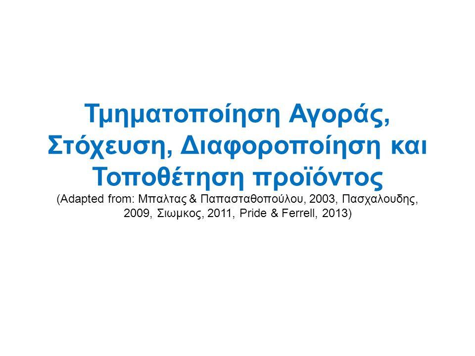 Τμηματοποίηση Αγοράς, Στόχευση, Διαφοροποίηση και Τοποθέτηση προϊόντος (Adapted from: Μπαλτας & Παπασταθοπούλου, 2003, Πασχαλουδης, 2009, Σιωμκος, 2011, Pride & Ferrell, 2013)