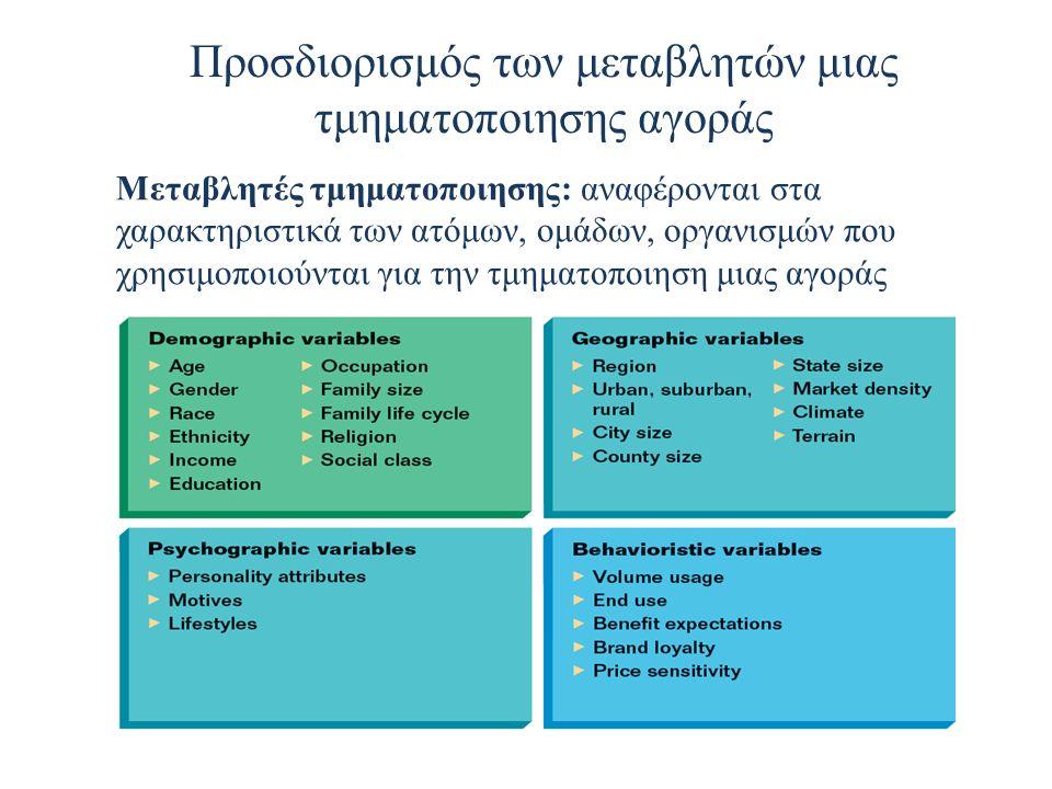 Προσδιορισμός των μεταβλητών μιας τμηματοποιησης αγοράς Μεταβλητές τμηματοποιησης: αναφέρονται στα χαρακτηριστικά των ατόμων, ομάδων, οργανισμών που χρησιμοποιούνται για την τμηματοποιηση μιας αγοράς