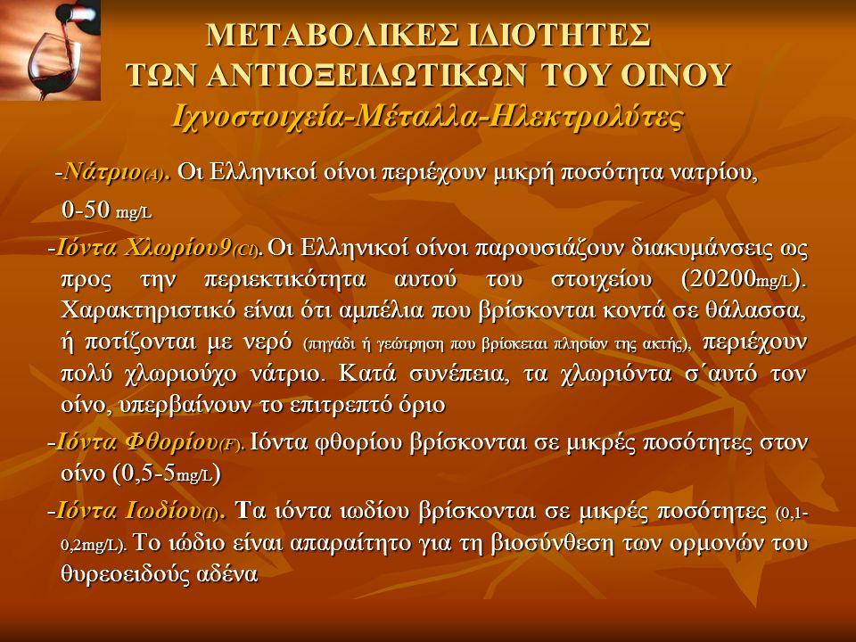 ΜΕΤΑΒΟΛΙΚΕΣ ΙΔΙΟΤΗΤΕΣ ΤΩΝ ΑΝΤΙΟΞΕΙΔΩΤΙΚΩΝ ΤΟΥ ΟΙΝΟΥ Ιχνοστοιχεία-Μέταλλα-Ηλεκτρολύτες -Νάτριο (Α).