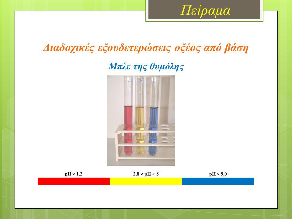 Πείραμα Διαδοχικές εξουδετερώσεις οξέος από βάση pH < 1,22,8 < pH < 8pH > 9,0. Μπλε της θυμόλης