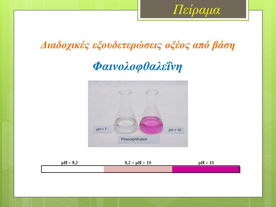 Πείραμα Διαδοχικές εξουδετερώσεις οξέος από βάση pH < 8,28,2 < pH < 10pH > 10. Φαινολοφθαλεΐνη