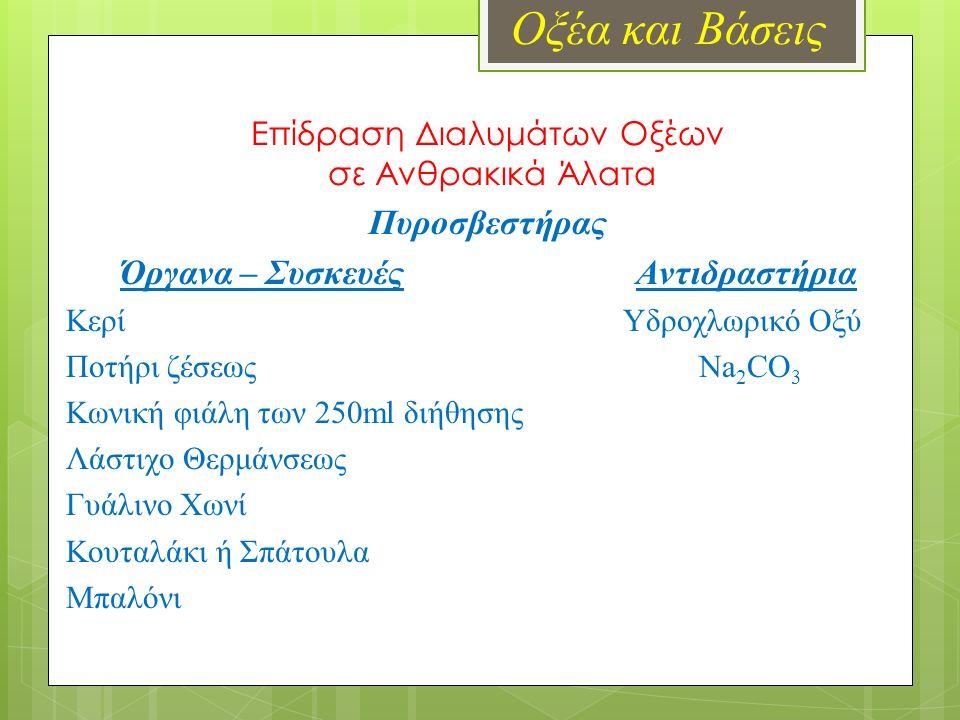 Οξέα και Βάσεις Επίδραση Διαλυμάτων Οξέων σε Ανθρακικά Άλατα Πυροσβεστήρας Όργανα – Συσκευές Αντιδραστήρια Κερί Υδροχλωρικό Οξύ Ποτήρι ζέσεως Na 2 CO 3 Κωνική φιάλη των 250ml διήθησης Λάστιχο Θερμάνσεως Γυάλινο Χωνί Κουταλάκι ή Σπάτουλα Μπαλόνι