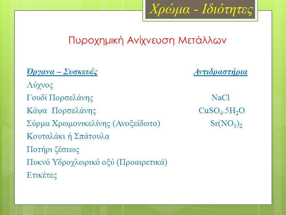 Χρώμα - Ιδιότητες Πυροχημική Ανίχνευση Μετάλλων Όργανα – Συσκευές Αντιδραστήρια Λύχνος Γουδί Πορσελάνης NaCl Κάψα Πορσελάνης CuSO 4.5H 2 O Σύρμα Χρωμονικελίνης (Ανοξείδωτο) Sr(NO 3 ) 2 Κουταλάκι ή Σπάτουλα Ποτήρι ζέσεως Πυκνό Υδροχλωρικό οξύ (Προαιρετικά) Ετικέτες