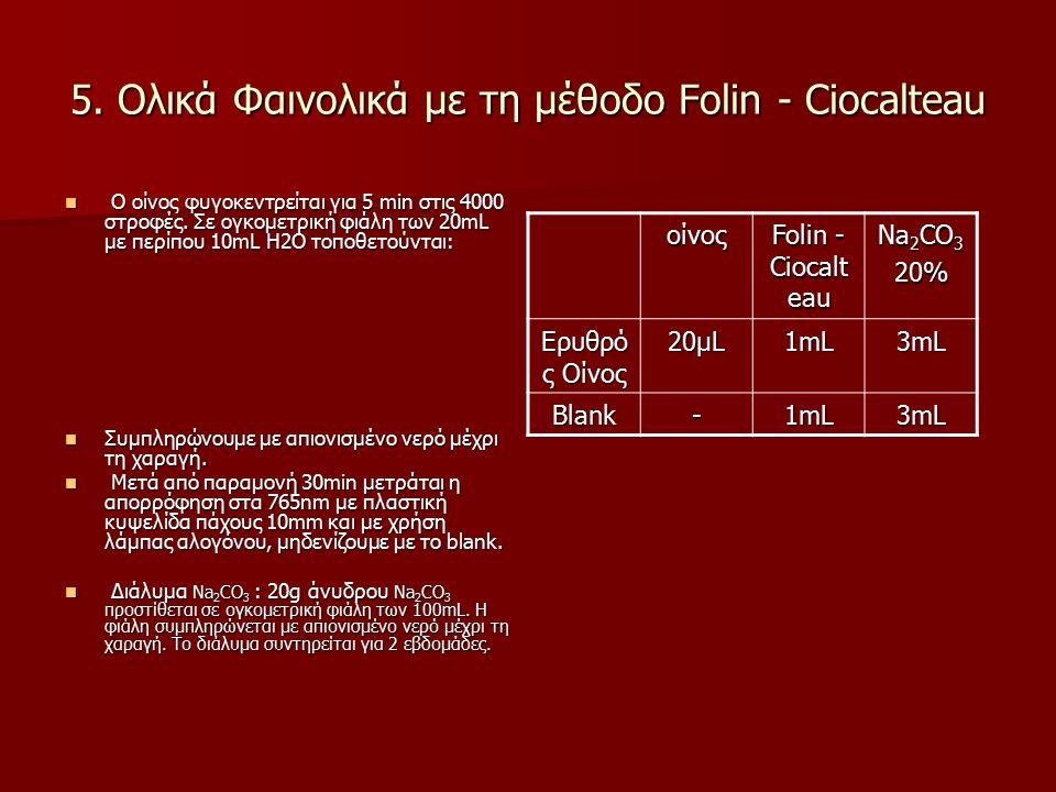 5. Ολικά Φαινολικά με τη μέθοδο Folin - Ciocalteau O οίνος φυγοκεντρείται για 5 min στις 4000 στροφές. Σε ογκομετρική φιάλη των 20mL με περίπου 10mL H