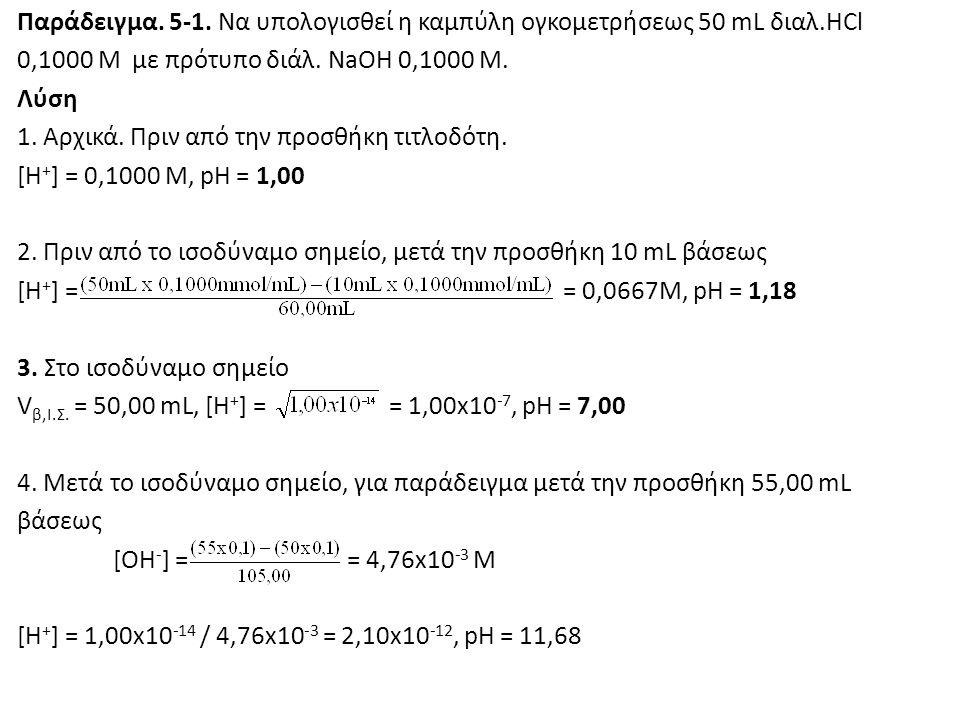 Παράδειγμα. 5-1. Να υπολογισθεί η καμπύλη ογκομετρήσεως 50 mL διαλ.HCl 0,1000 M με πρότυπο διάλ. NaOH 0,1000 M. Λύση 1. Αρχικά. Πριν από την προσθήκη