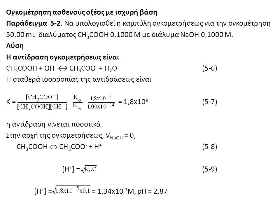 Ογκομέτρηση ασθενούς οξέος με ισχυρή βάση Παράδειγμα 5-2. Να υπολογισθεί η καμπύλη ογκομετρήσεως για την ογκομέτρηση 50,00 mL διαλύματος CH 3 COOH 0,1