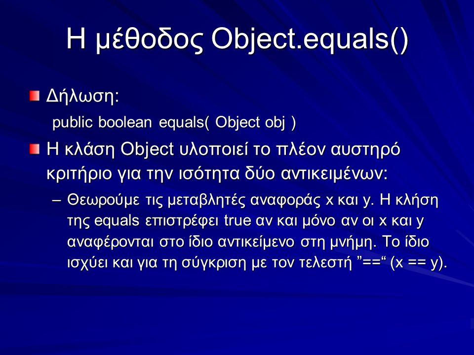 Η μέθοδος Object.equals() Δήλωση: public boolean equals( Object obj ) Η κλάση Object υλοποιεί το πλέον αυστηρό κριτήριο για την ισότητα δύο αντικειμένων: –Θεωρούμε τις μεταβλητές αναφοράς x και y.