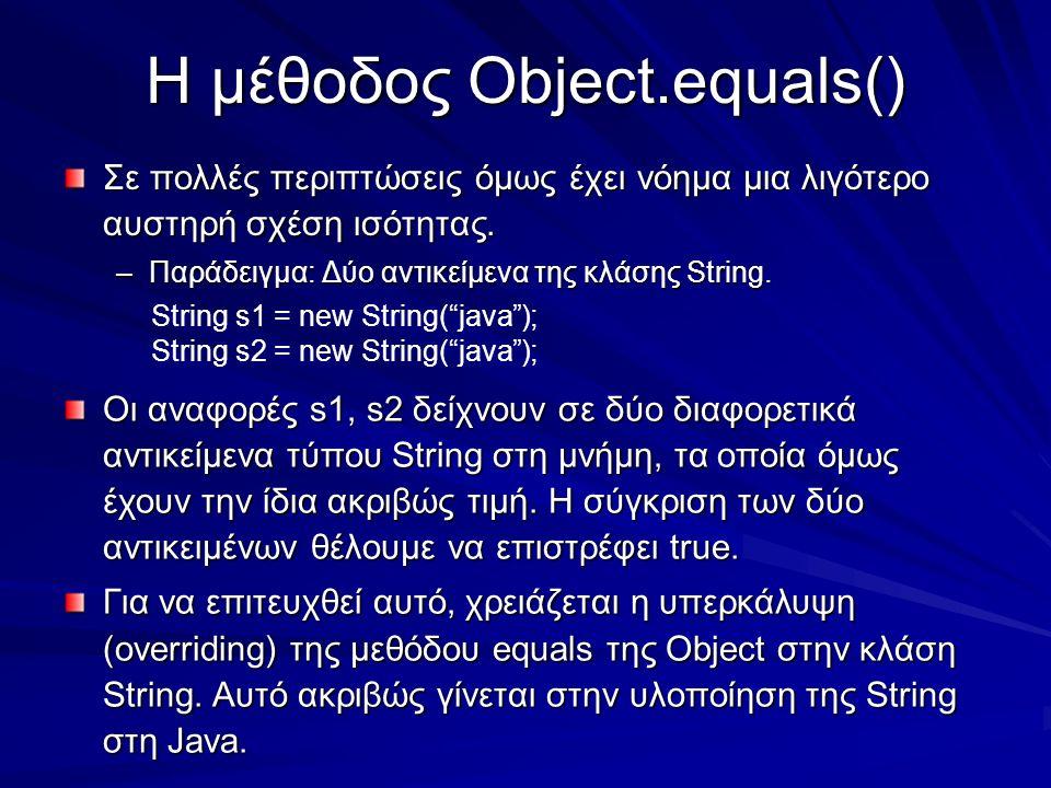 Η μέθοδος Object.equals() Σε πολλές περιπτώσεις όμως έχει νόημα μια λιγότερο αυστηρή σχέση ισότητας.