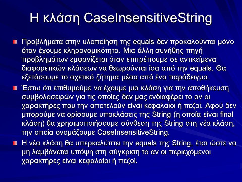 Η κλάση CaseInsensitiveString Προβλήματα στην υλοποίηση της equals δεν προκαλούνται μόνο όταν έχουμε κληρονομικότητα.