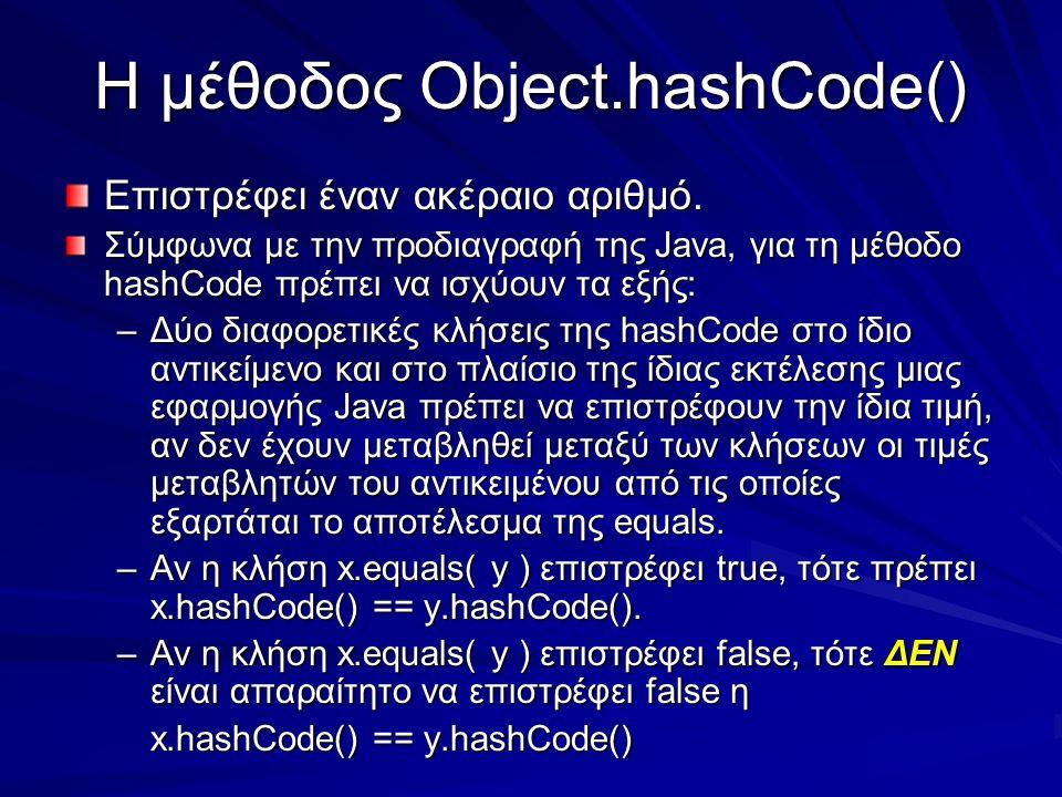 Η μέθοδος Object.hashCode() Επιστρέφει έναν ακέραιο αριθμό.