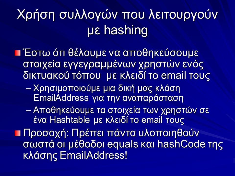 Χρήση συλλογών που λειτουργούν με hashing Έστω ότι θέλουμε να αποθηκεύσουμε στοιχεία εγγεγραμμένων χρηστών ενός δικτυακού τόπου με κλειδί το email τους –Χρησιμοποιούμε μια δική μας κλάση EmailAddress για την αναπαράσταση –Αποθηκεύουμε τα στοιχεία των χρηστών σε ένα Hashtable με κλειδί το email τους Προσοχή: Πρέπει πάντα υλοποιηθούν σωστά οι μέθοδοι equals και hashCode της κλάσης EmailAddress!