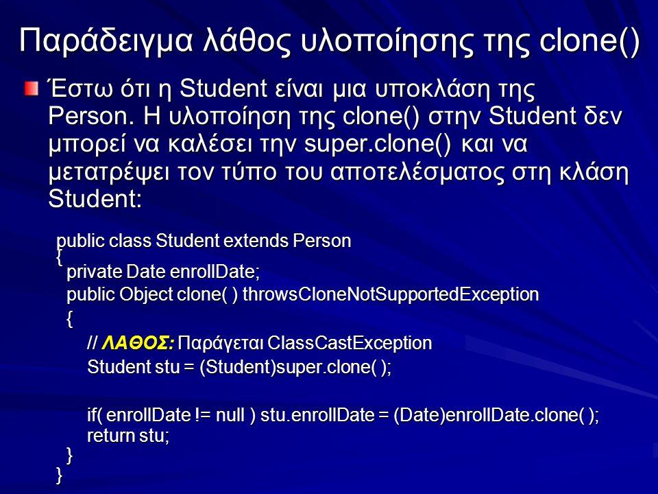 Παράδειγμα λάθος υλοποίησης της clone() Έστω ότι η Student είναι μια υποκλάση της Person.