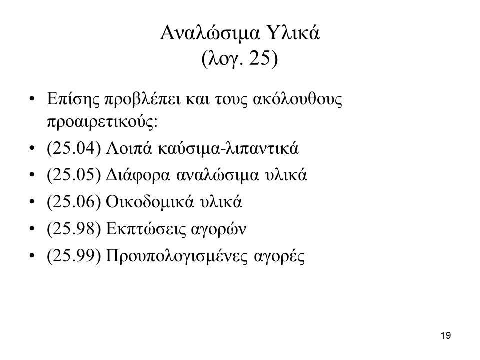 19 Αναλώσιμα Υλικά (λογ.