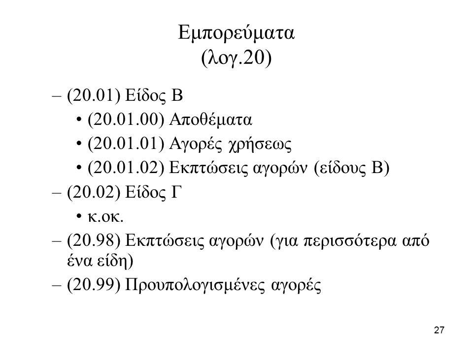 27 Εμπορεύματα (λογ.20) –(20.01) Είδος Β (20.01.00) Αποθέματα (20.01.01) Αγορές χρήσεως (20.01.02) Εκπτώσεις αγορών (είδους Β) –(20.02) Είδος Γ κ.οκ.
