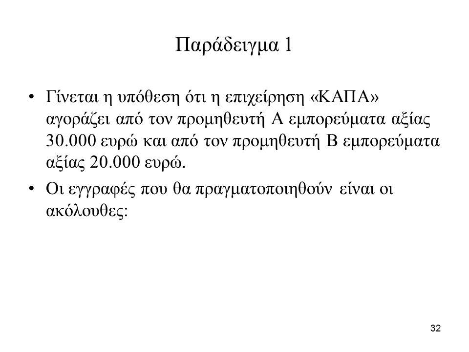 32 Παράδειγμα 1 Γίνεται η υπόθεση ότι η επιχείρηση «ΚΑΠΑ» αγοράζει από τον προμηθευτή Α εμπορεύματα αξίας 30.000 ευρώ και από τον προμηθευτή Β εμπορεύματα αξίας 20.000 ευρώ.