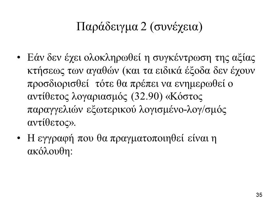 35 Παράδειγμα 2 (συνέχεια) Εάν δεν έχει ολοκληρωθεί η συγκέντρωση της αξίας κτήσεως των αγαθών (και τα ειδικά έξοδα δεν έχουν προσδιορισθεί τότε θα πρέπει να ενημερωθεί ο αντίθετος λογαριασμός (32.90) «Κόστος παραγγελιών εξωτερικού λογισμένο-λογ/σμός αντίθετος».